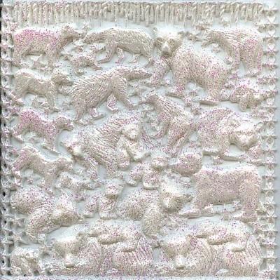 Wachsornament-Platte Eisbären, ca. 16 x 16 cm