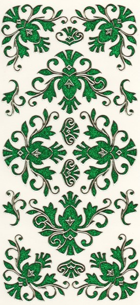 Microglitter-Sticker, Schnörkelornament 2, grün