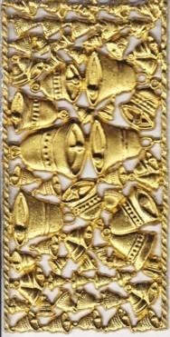 Wachsornament-Platte Glocken, 16 x 8 cm, gold mit Glimmer