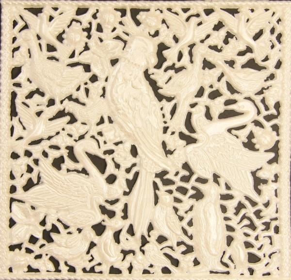 Wachsornament-Platte Vögel, 16 x 16 cm, weiß