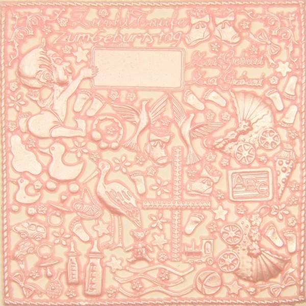 Wachsornament-Platte Babyausstattung, 16 x 16 cm, hellrosa-perlmutt