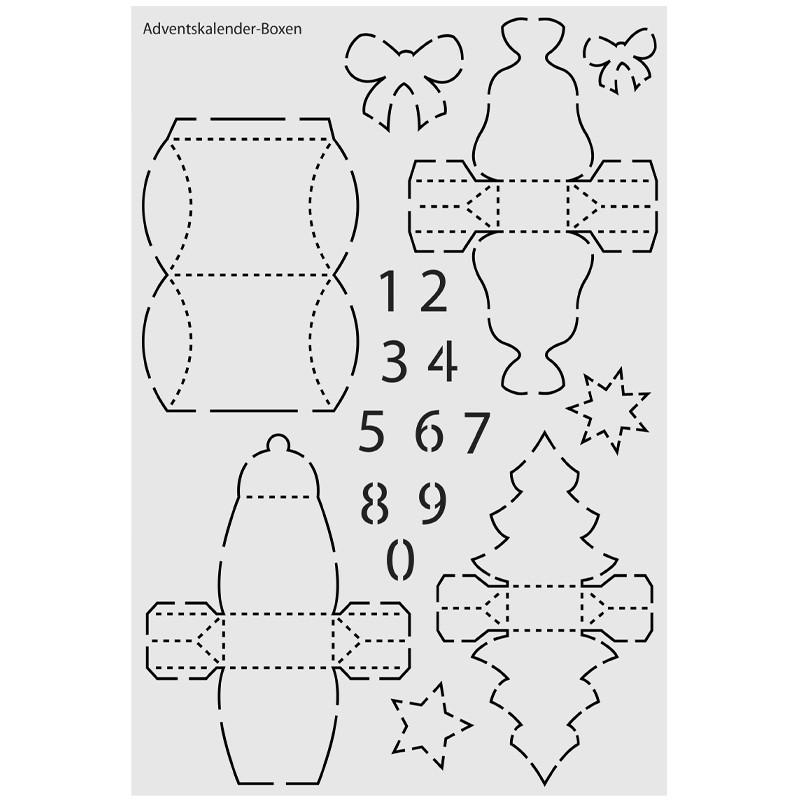 design schablone nr 11 adventskalender boxen din a4 schablonen geschenktaschen boxen. Black Bedroom Furniture Sets. Home Design Ideas