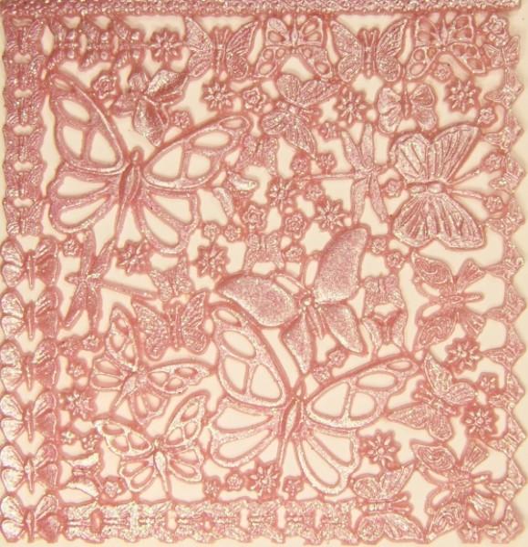 Wachsornament-Platte Schmetterlinge, 16cm x 16cm, altrosa