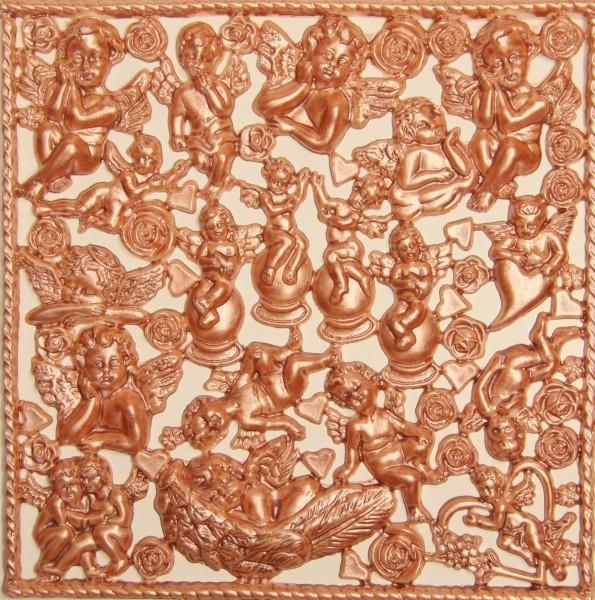 Wachsornament-Platte Putten & Engel, 16 x 16 cm, terracotta