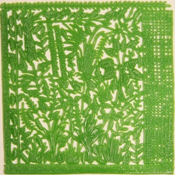 Wachsornament-Platte Blätter & Ranken, 16cm x 16cm, hellgrün