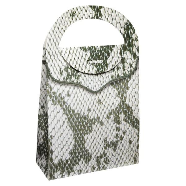 Geschenktasche Lederoptik, 4,5 x 11,5 x 20 cm, grün-weiß