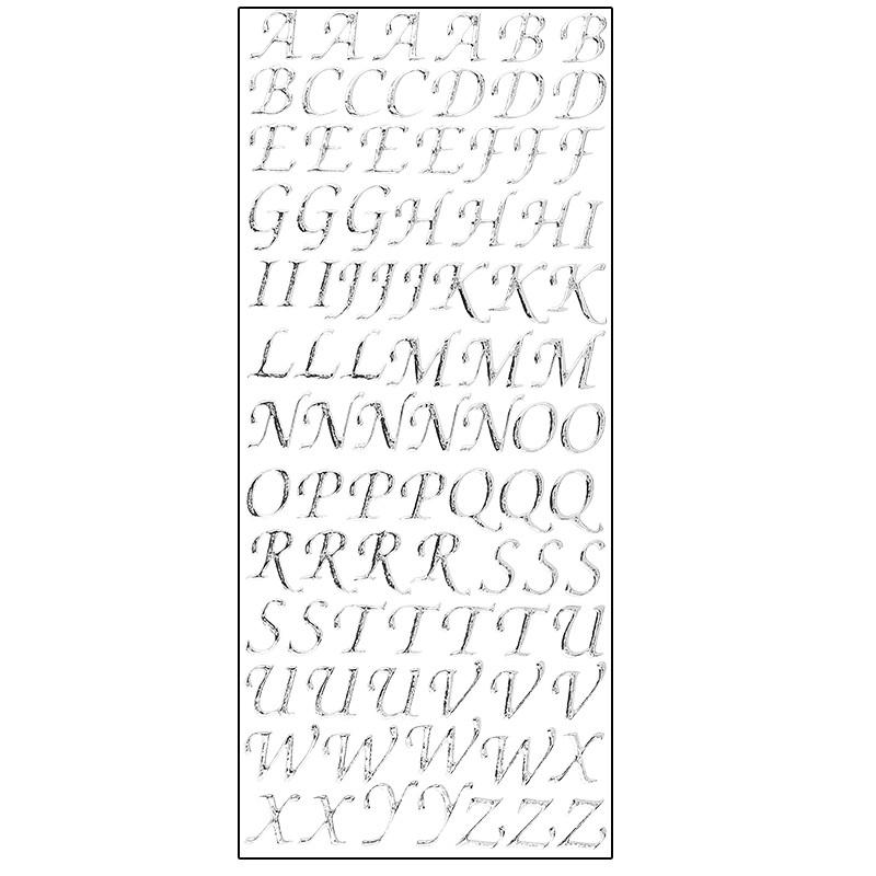 Microglitter-Sticker, Alphabet, Großbuchstaben, silber | Buchstaben ...