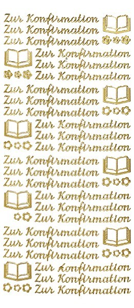 Sticker, Schrift, Konfirmation, gold