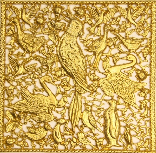 Wachsornament-Platte Vögel, 16 x 16 cm, gold