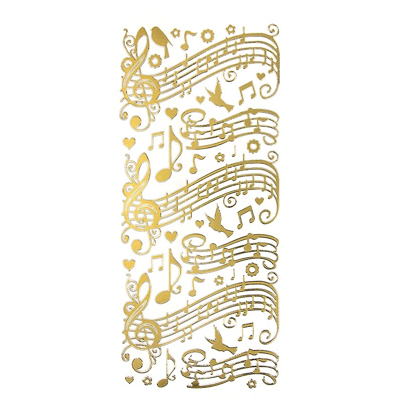 sticker noten musik perlmuttfolie gold schriftz ge sticker bastelbedarf ideen mit herz. Black Bedroom Furniture Sets. Home Design Ideas