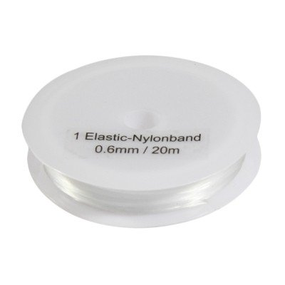 Nylonband, elastisch, transparent, 0,6 mm x 20 m