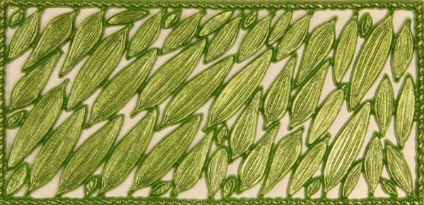 Wachsornament-Platte, Akazienblätter, 16 x 8 cm, grün