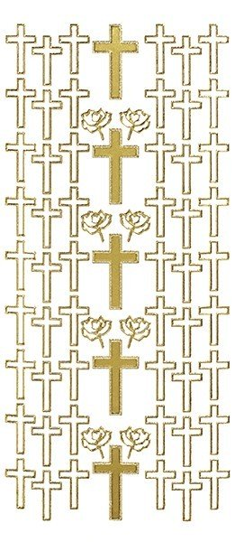 Sticker, Motiv Kreuz, gold